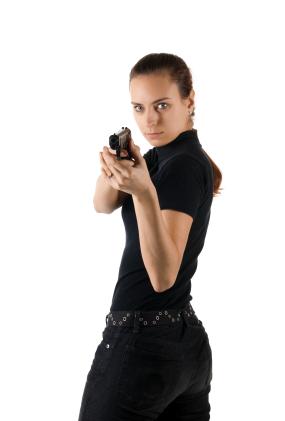 Girl with gun.