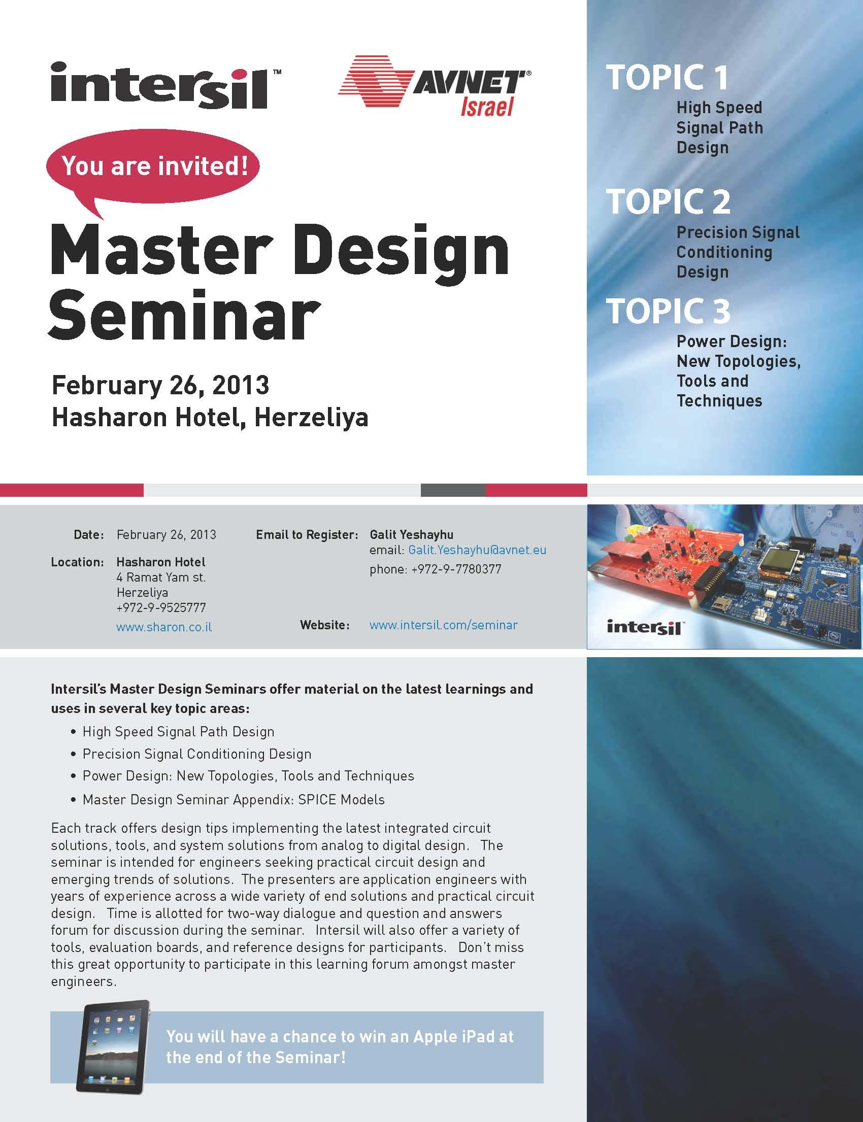 i-HLS Israel Homeland Security AVNET - Intersil Master Design Seminar