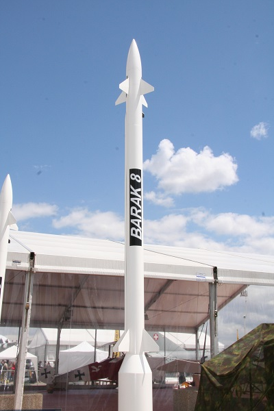 Barak 8 missile. Source: Wikimedia commons