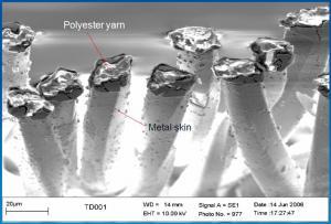 SEM Image: Poliester metallized