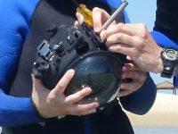 פרופסור יואב שכנר והחוקרית מרינה אלתרמן בעת ניסוי המערכת בחוף הכרמל קרדיט דוברות הטכניון בינוני פיצר