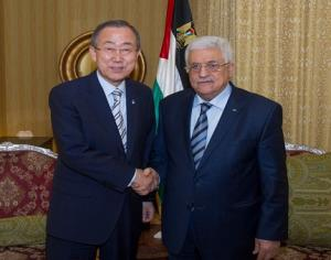 UN Secretary General Ban Ki-Moon and PA Chair Mahmoud Abbas