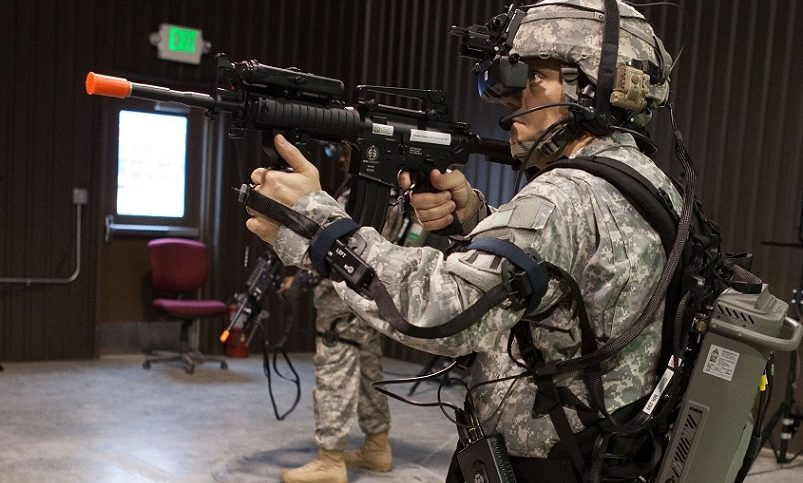Military man using AR technology